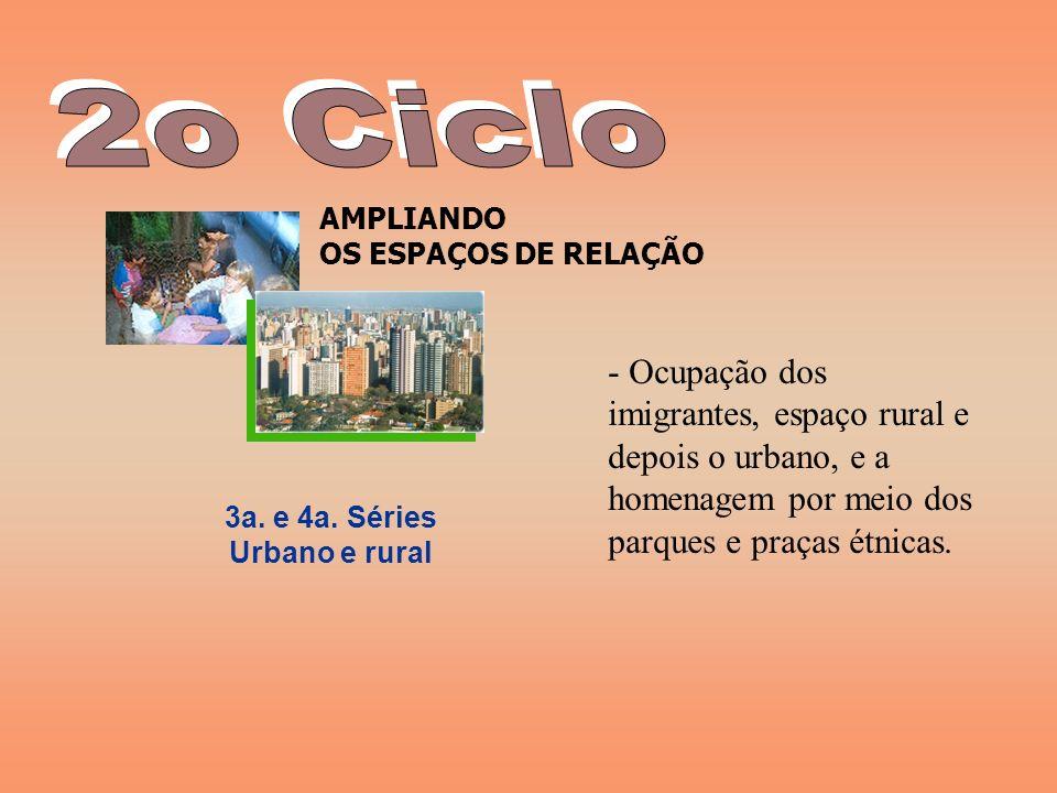 2o Ciclo AMPLIANDO OS ESPAÇOS DE RELAÇÃO.