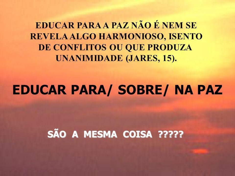 EDUCAR PARA/ SOBRE/ NA PAZ