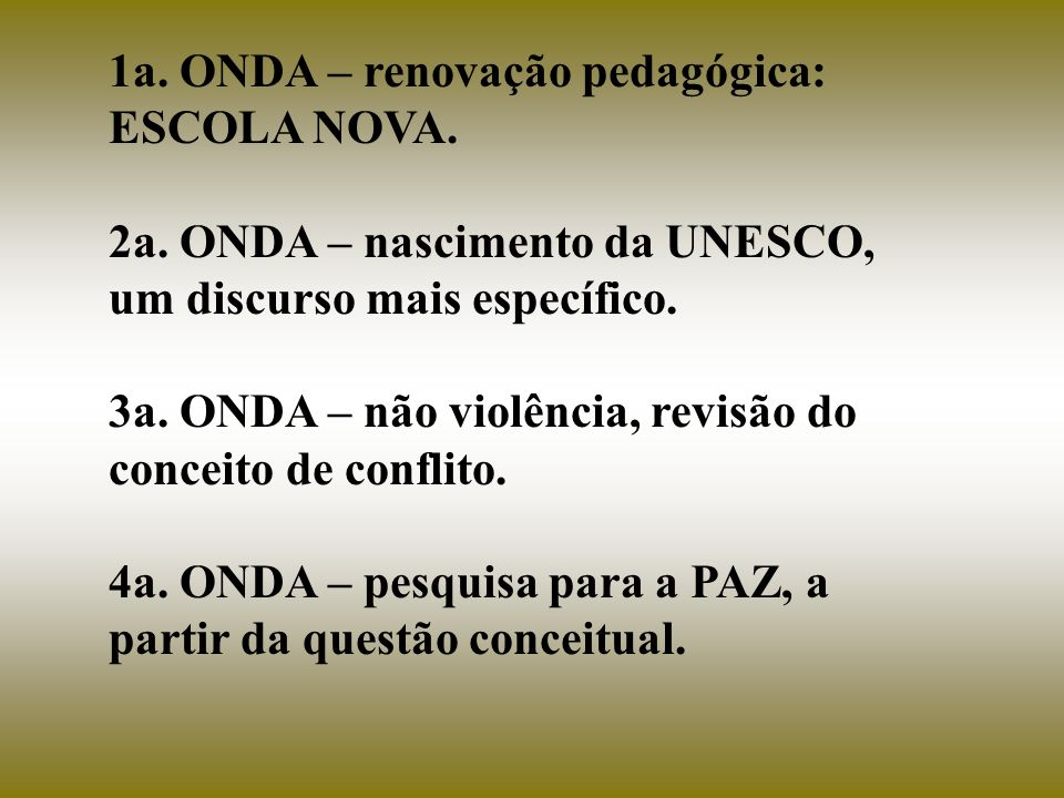 1a. ONDA – renovação pedagógica: ESCOLA NOVA.