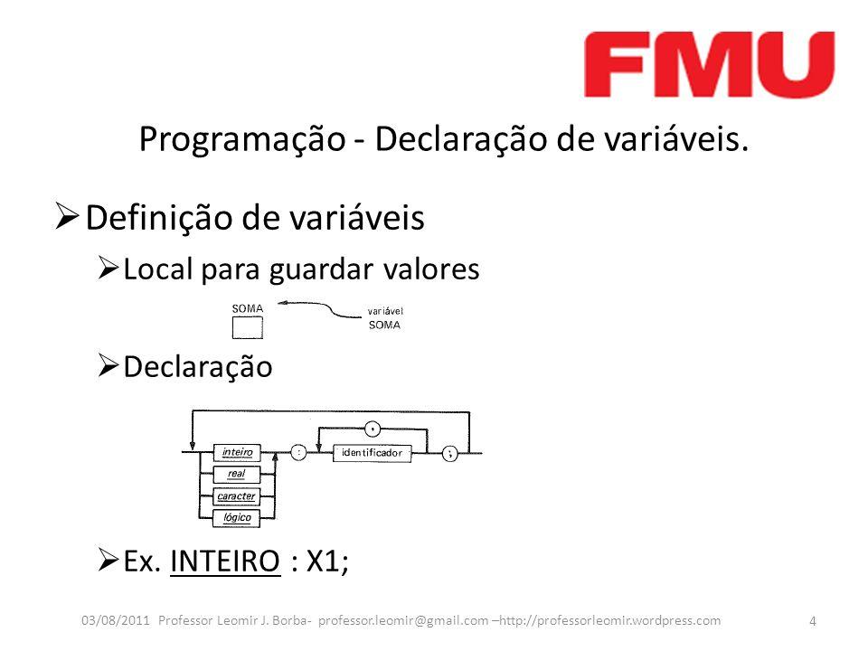 Programação - Declaração de variáveis.
