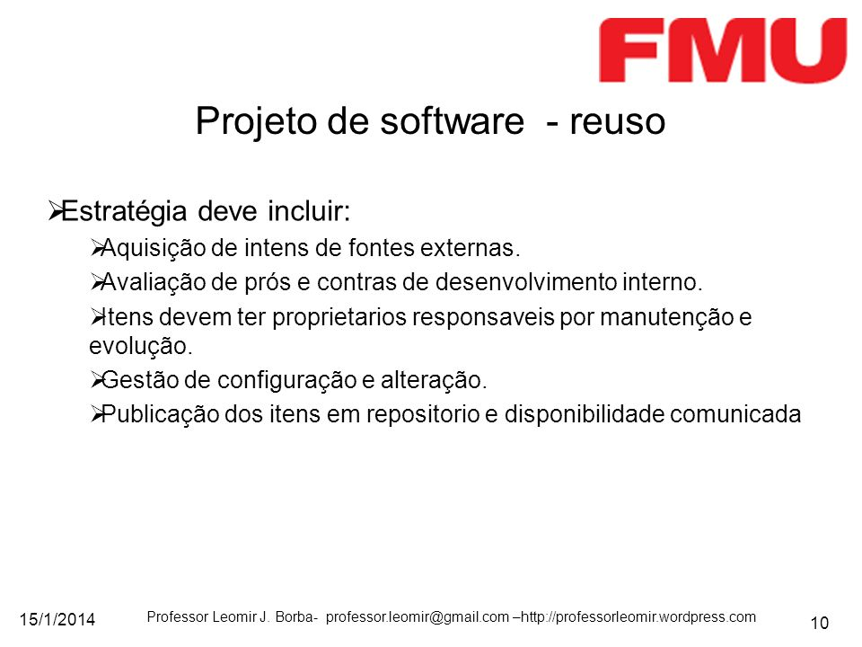 Projeto de software - reuso