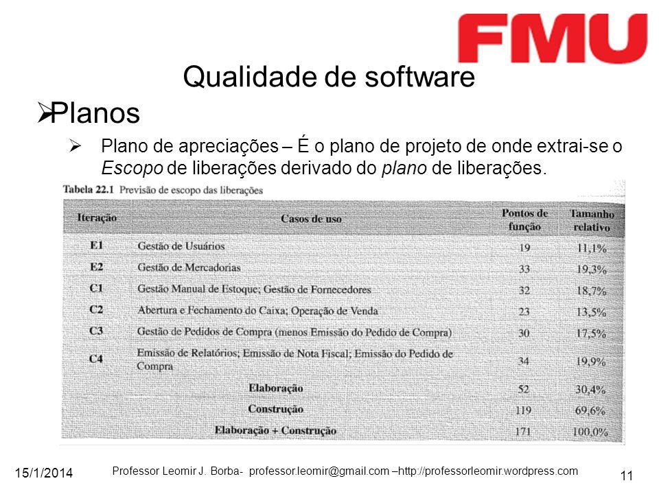 Qualidade de software Planos