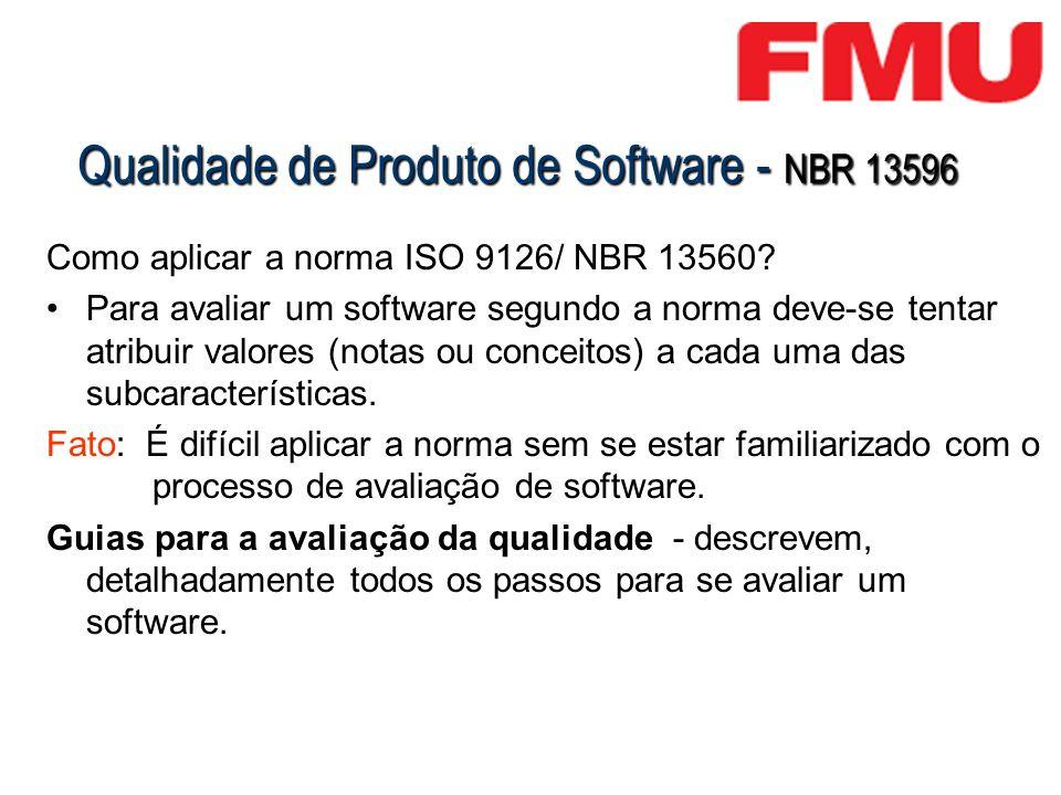 Qualidade de Produto de Software - NBR 13596