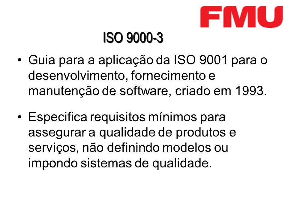ISO 9000-3 Guia para a aplicação da ISO 9001 para o desenvolvimento, fornecimento e manutenção de software, criado em 1993.