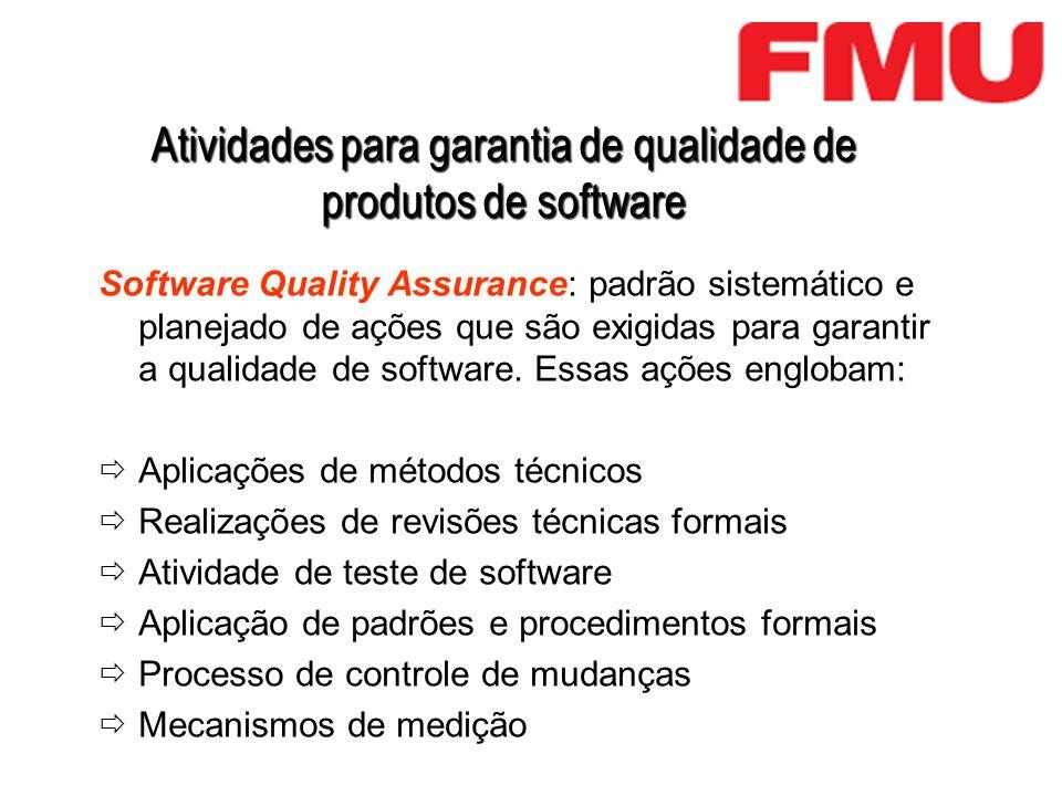 Atividades para garantia de qualidade de produtos de software