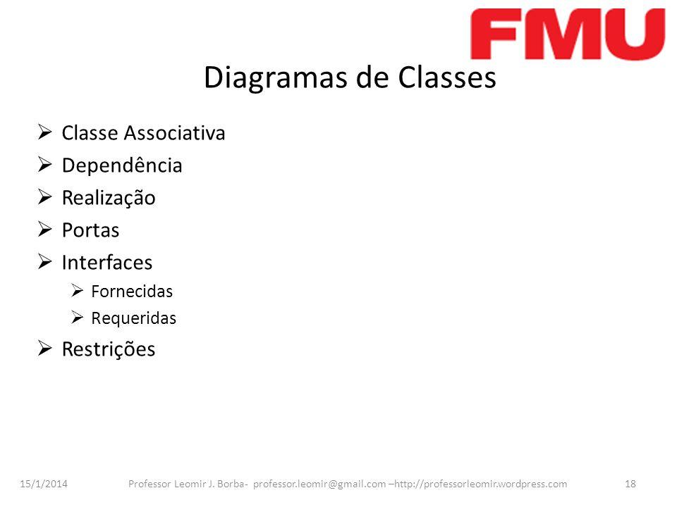 Diagramas de Classes Classe Associativa Dependência Realização Portas