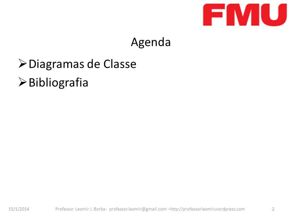 Agenda Diagramas de Classe Bibliografia