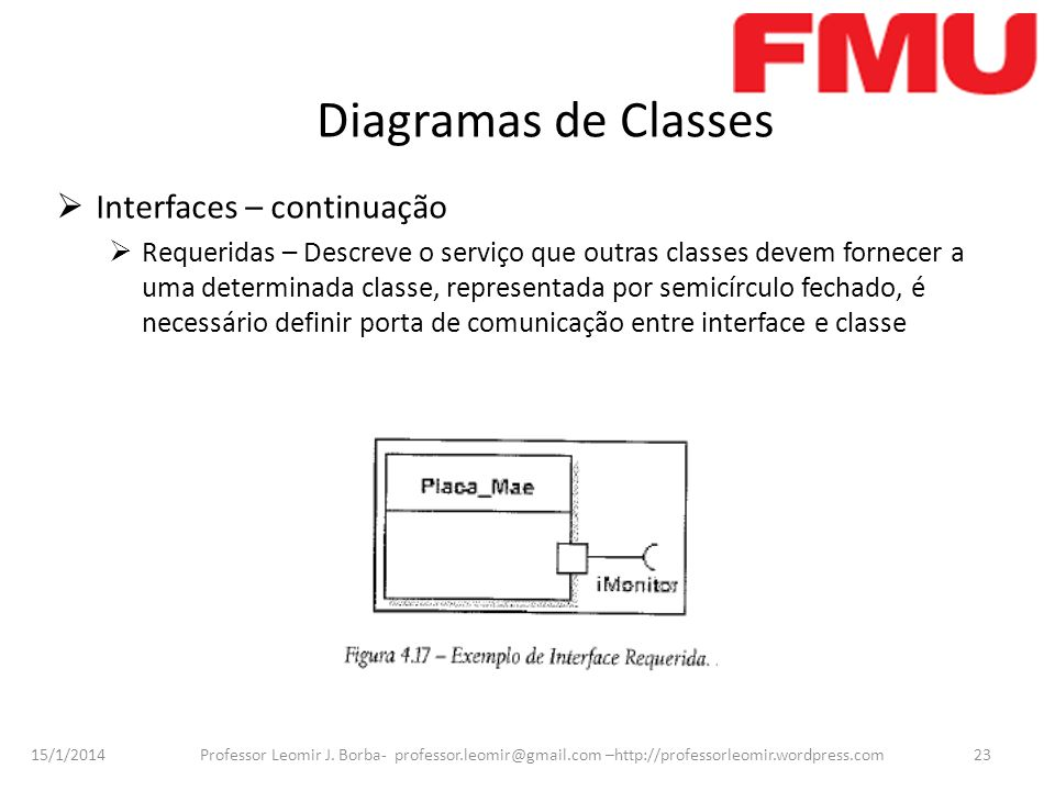 Diagramas de Classes Interfaces – continuação