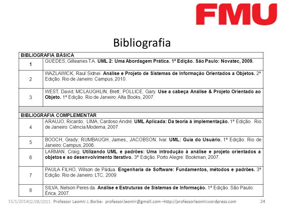 Bibliografia BIBLIOGRAFIA BÁSICA. 1. GUEDES, Gilleanes T.A. UML 2: Uma Abordagem Prática. 1ª Edição. São Paulo: Novatec, 2009.