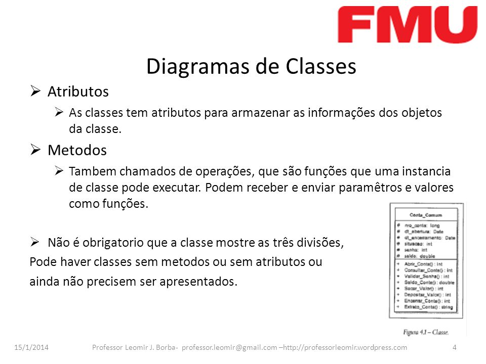 Diagramas de Classes Atributos Metodos