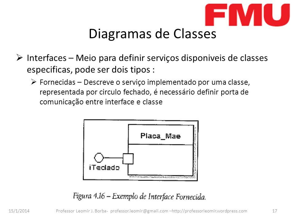 Diagramas de Classes Interfaces – Meio para definir serviços disponiveis de classes especificas, pode ser dois tipos :