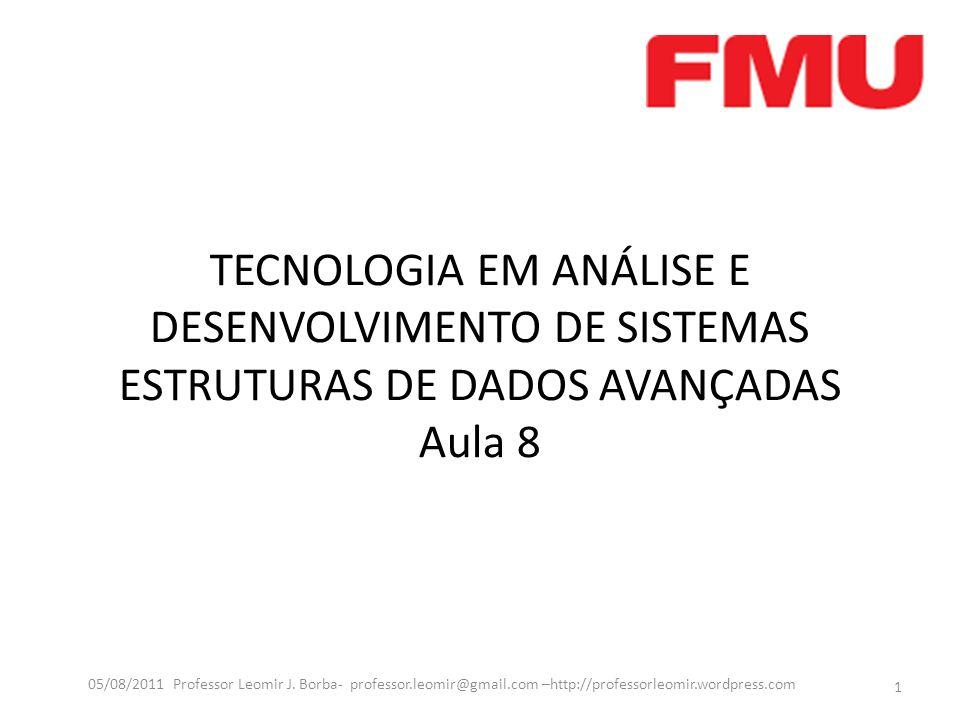 TECNOLOGIA EM ANÁLISE E DESENVOLVIMENTO DE SISTEMAS ESTRUTURAS DE DADOS AVANÇADAS Aula 8