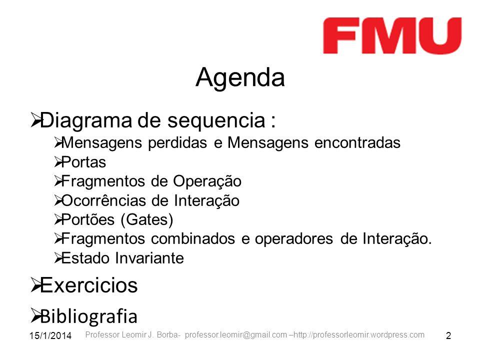 Agenda Diagrama de sequencia : Exercicios Bibliografia