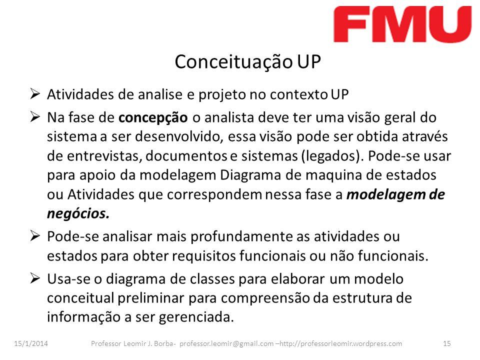 Conceituação UP Atividades de analise e projeto no contexto UP