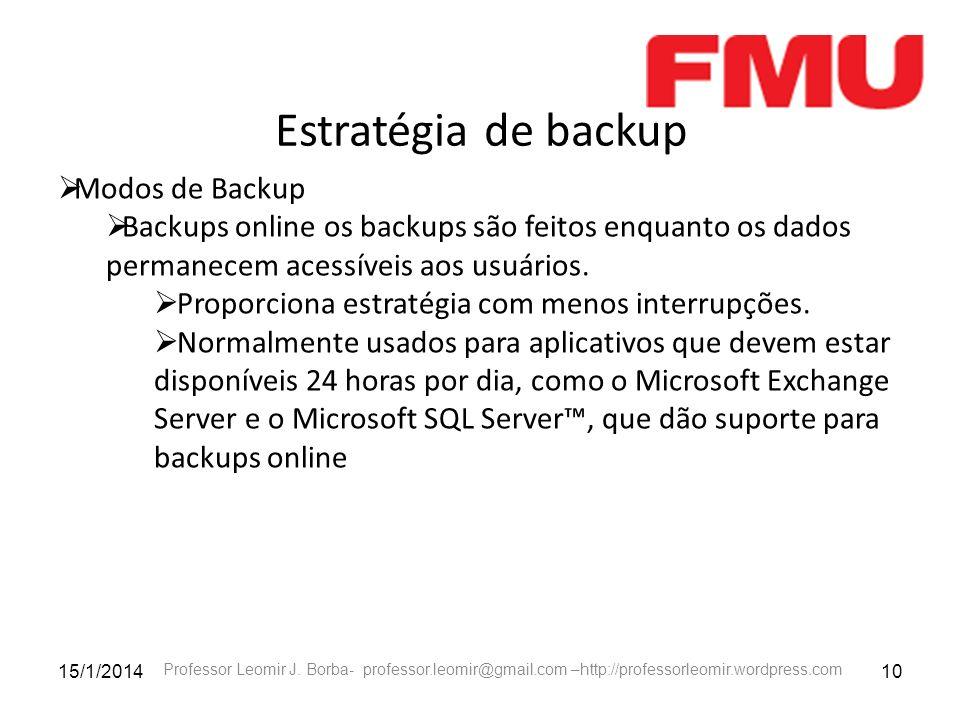 Estratégia de backup Modos de Backup