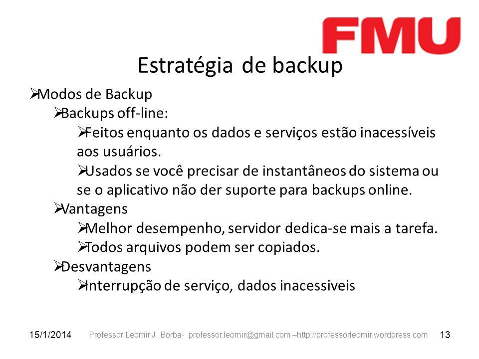 Estratégia de backup Modos de Backup Backups off-line: