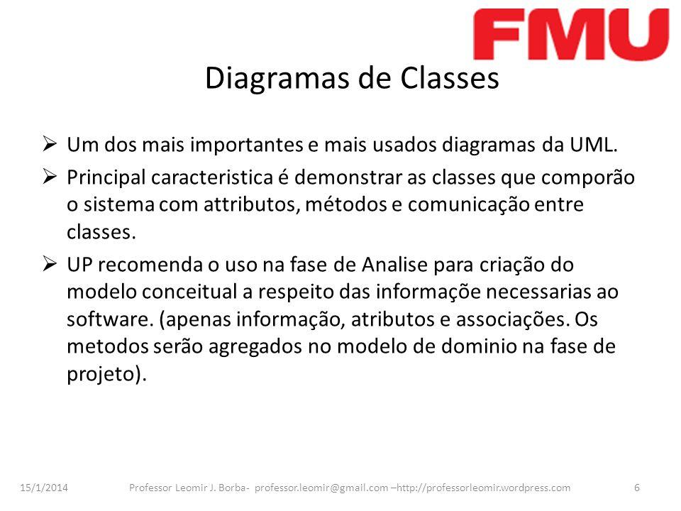 Diagramas de Classes Um dos mais importantes e mais usados diagramas da UML.