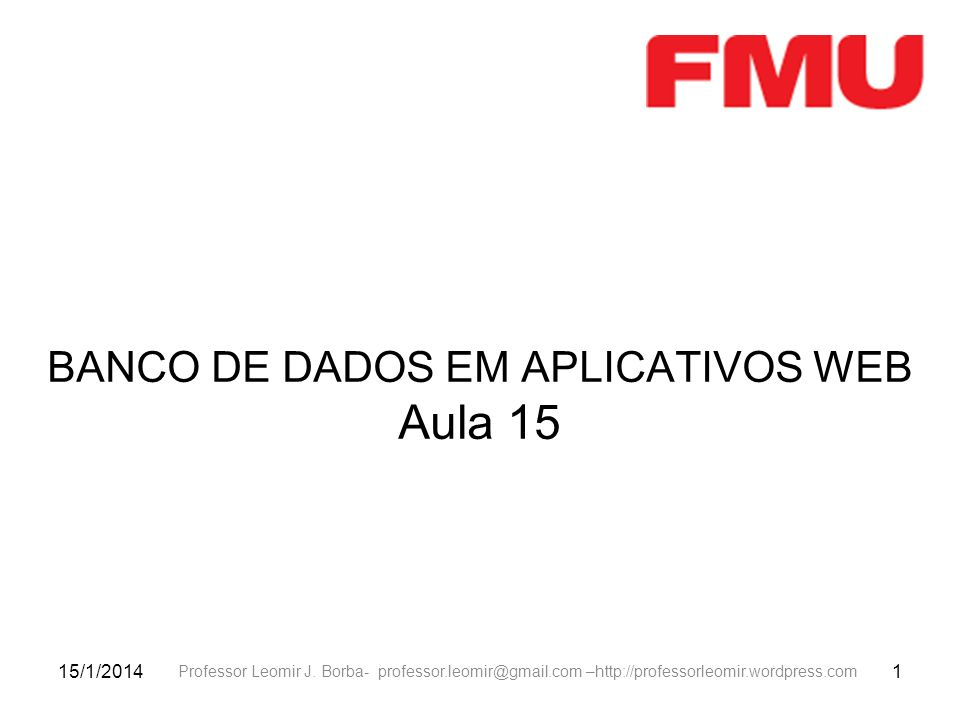 BANCO DE DADOS EM APLICATIVOS WEB Aula 15