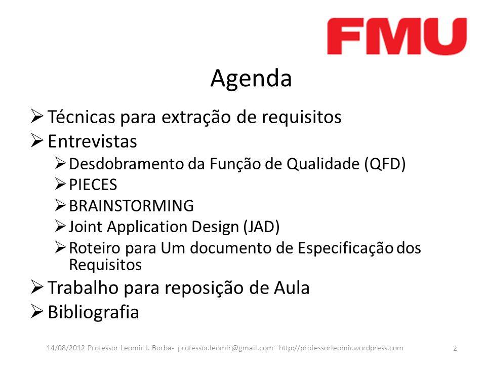 Agenda Técnicas para extração de requisitos Entrevistas