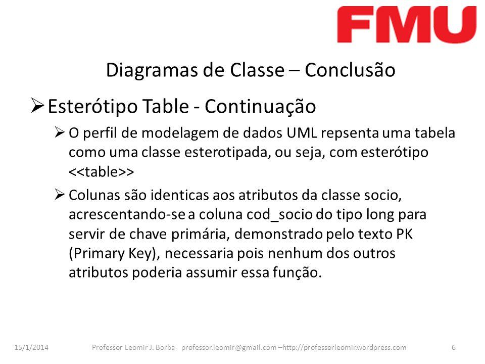 Diagramas de Classe – Conclusão