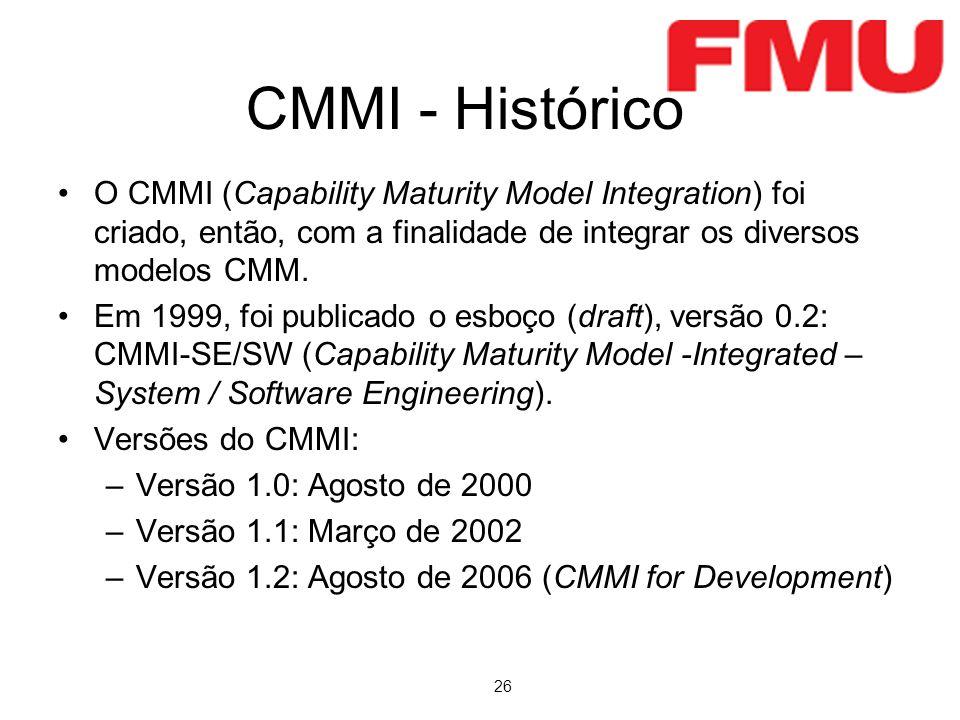 CMMI - Histórico O CMMI (Capability Maturity Model Integration) foi criado, então, com a finalidade de integrar os diversos modelos CMM.