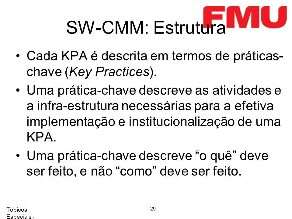 SW-CMM: Estrutura Cada KPA é descrita em termos de práticas-chave (Key Practices).