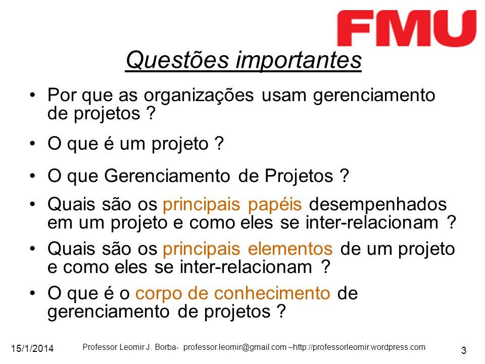 Questões importantes Por que as organizações usam gerenciamento de projetos O que é um projeto