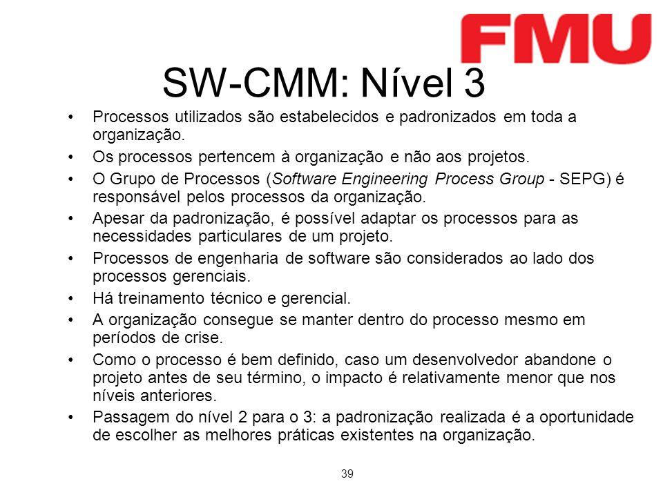 SW-CMM: Nível 3 Processos utilizados são estabelecidos e padronizados em toda a organização.