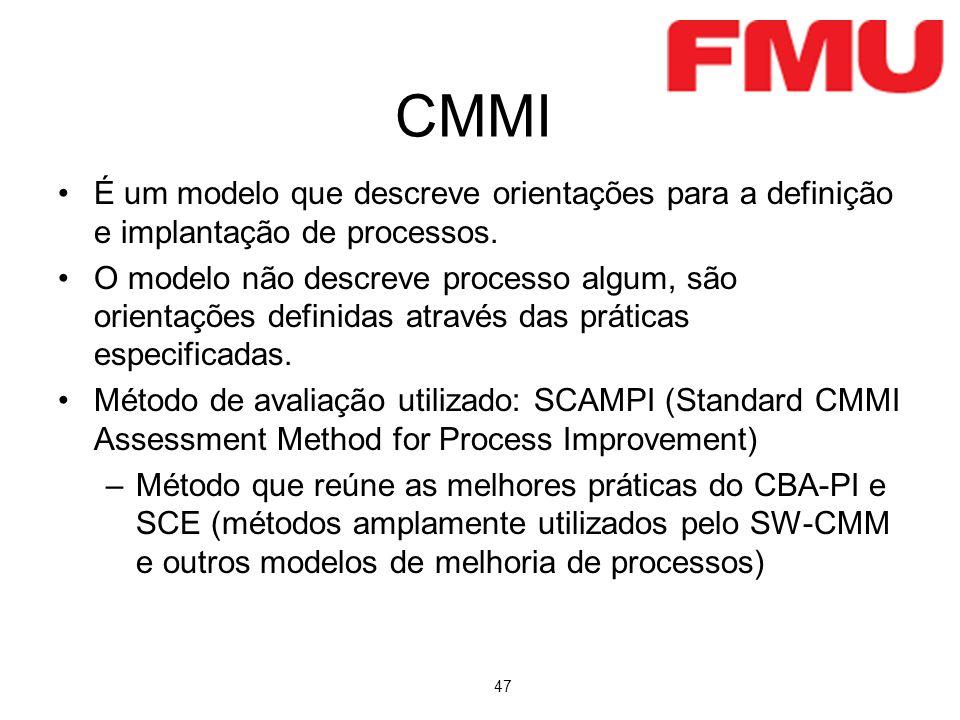 CMMI É um modelo que descreve orientações para a definição e implantação de processos.