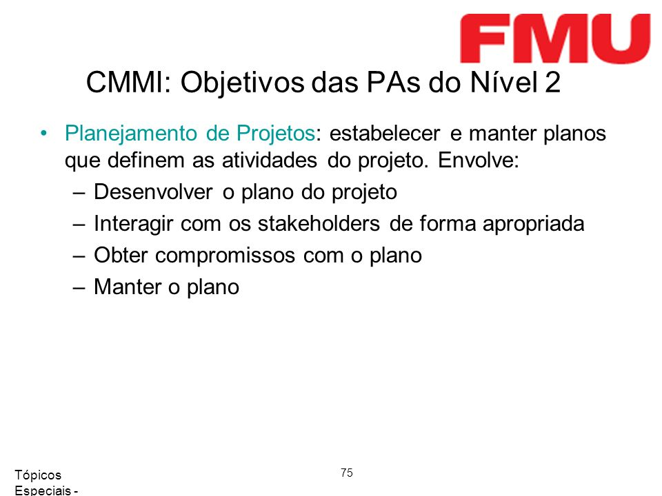 CMMI: Objetivos das PAs do Nível 2