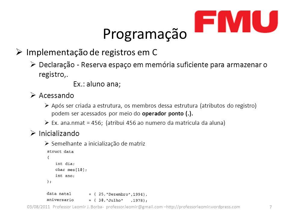 Programação Implementação de registros em C