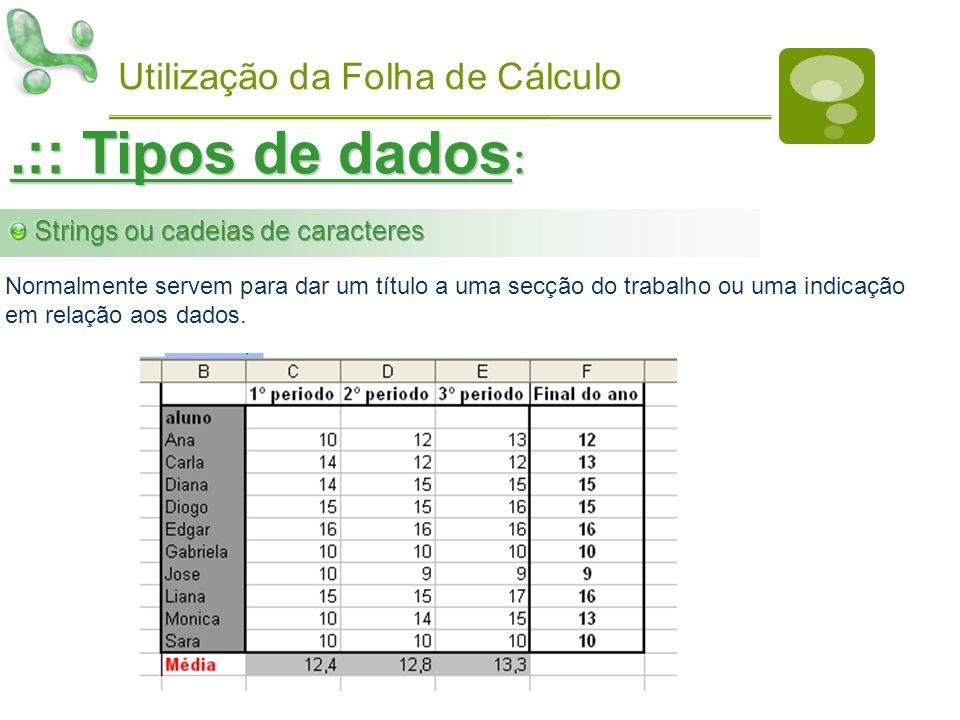 .:: Tipos de dados: Utilização da Folha de Cálculo