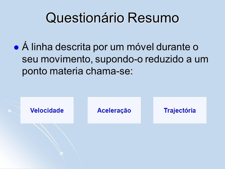 Questionário ResumoÁ linha descrita por um móvel durante o seu movimento, supondo-o reduzido a um ponto materia chama-se: