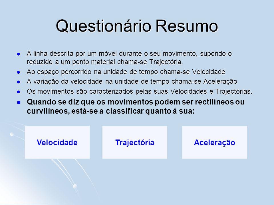 Questionário Resumo Á linha descrita por um móvel durante o seu movimento, supondo-o reduzido a um ponto material chama-se Trajectória.