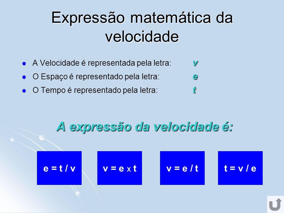Expressão matemática da velocidade