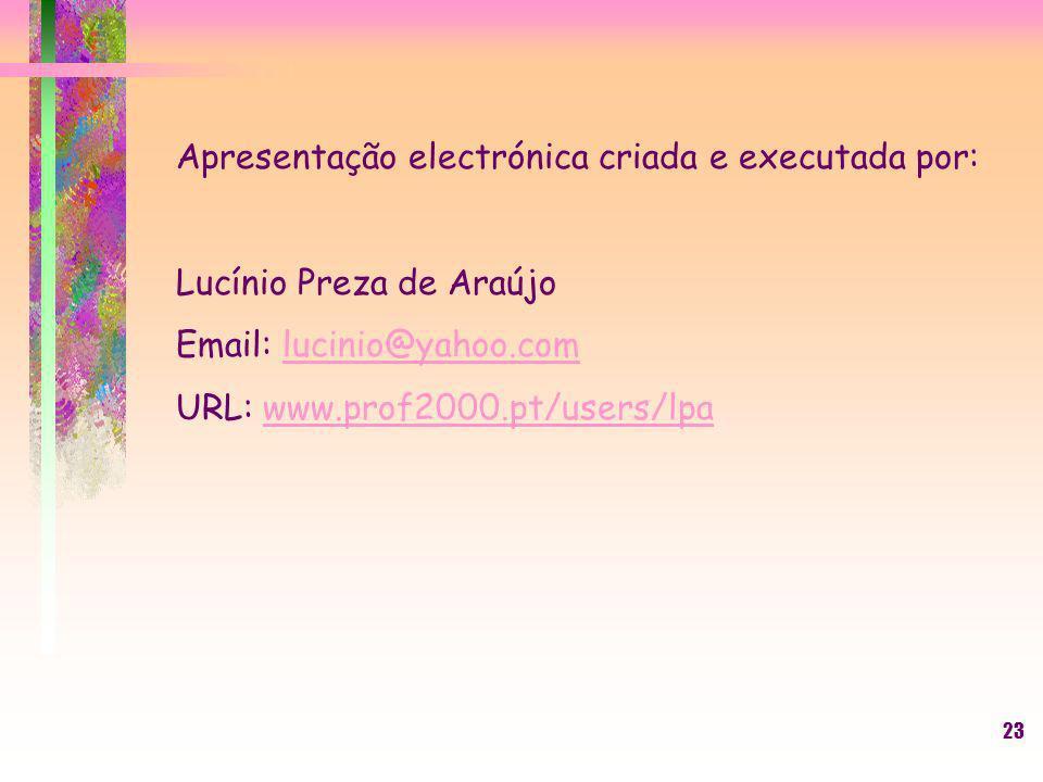Apresentação electrónica criada e executada por: