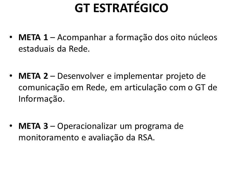 GT ESTRATÉGICO META 1 – Acompanhar a formação dos oito núcleos estaduais da Rede.