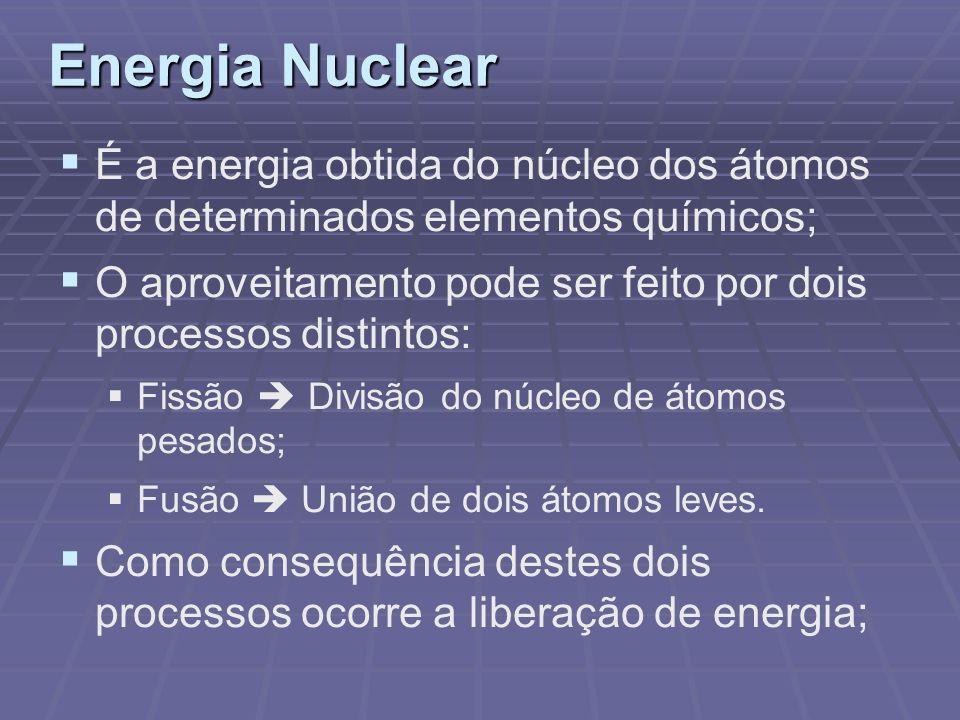 Energia Nuclear É a energia obtida do núcleo dos átomos de determinados elementos químicos;