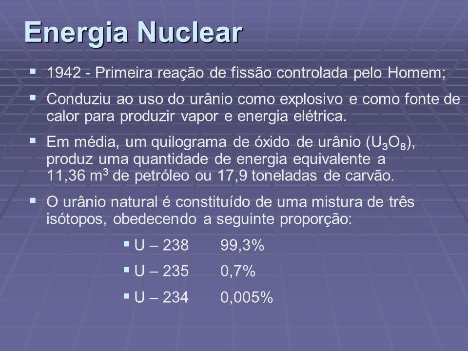 Energia Nuclear 1942 - Primeira reação de fissão controlada pelo Homem;