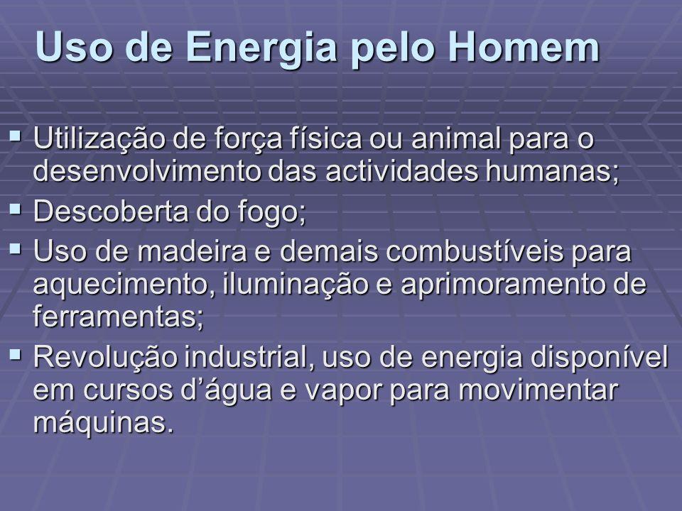 Uso de Energia pelo Homem