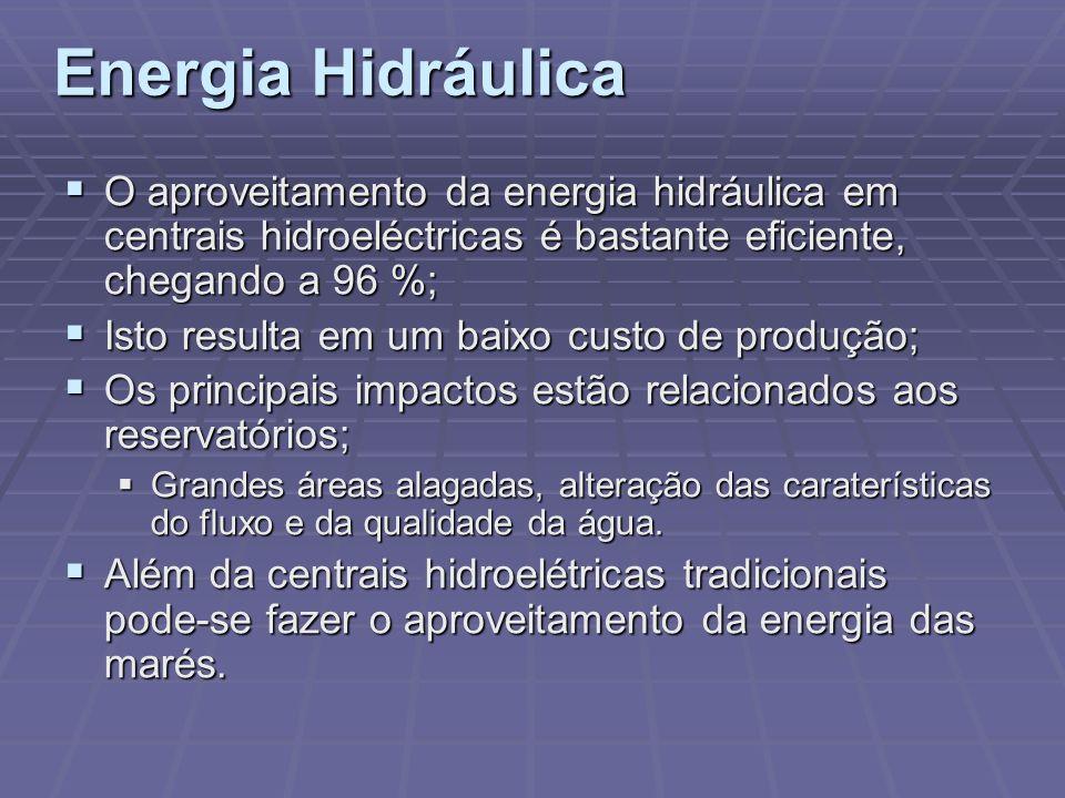 Energia Hidráulica O aproveitamento da energia hidráulica em centrais hidroeléctricas é bastante eficiente, chegando a 96 %;