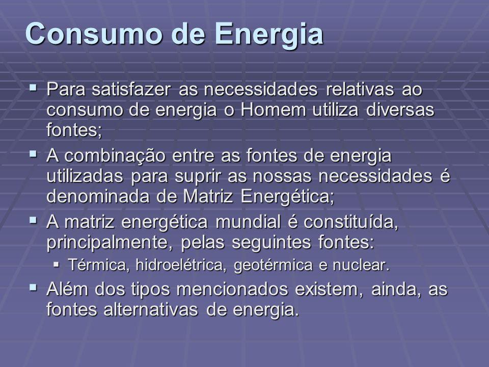 Consumo de EnergiaPara satisfazer as necessidades relativas ao consumo de energia o Homem utiliza diversas fontes;