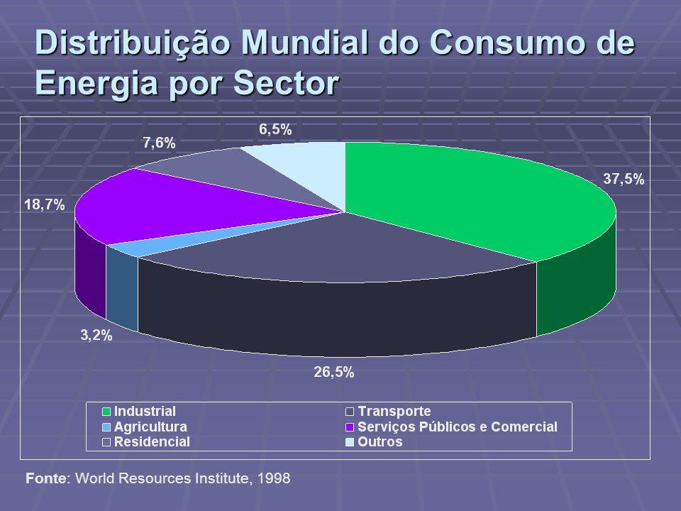 Distribuição Mundial do Consumo de Energia por Sector