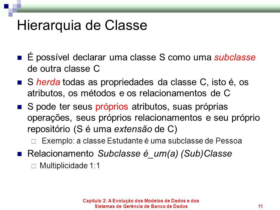 Hierarquia de ClasseÉ possível declarar uma classe S como uma subclasse de outra classe C.