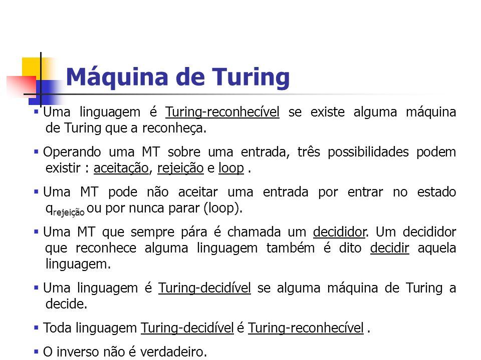 Máquina de Turing Uma linguagem é Turing-reconhecível se existe alguma máquina de Turing que a reconheça.