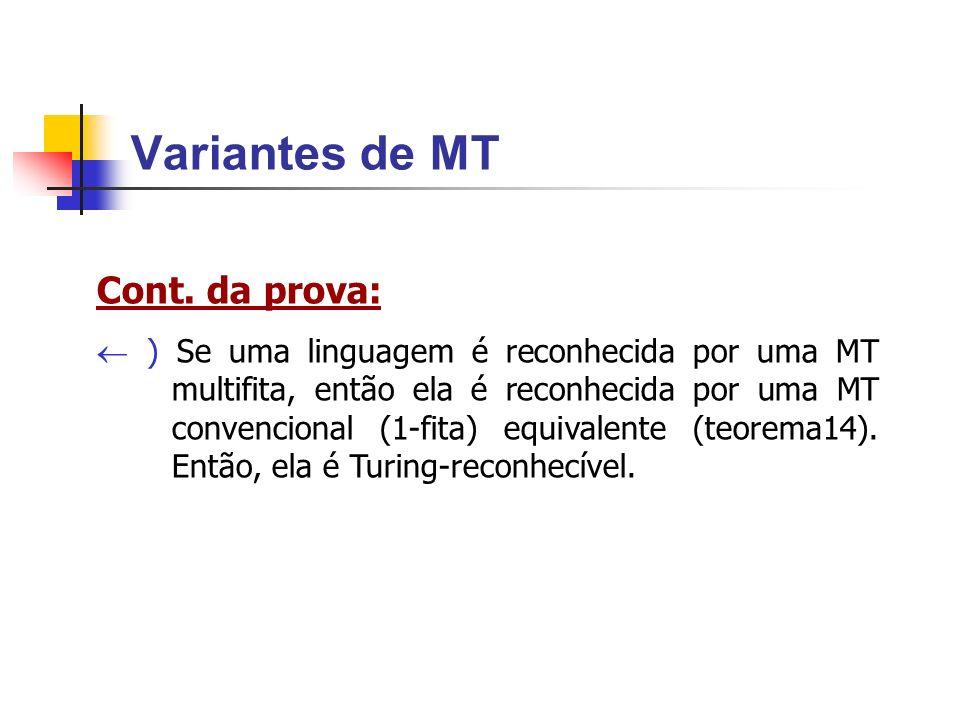 Variantes de MT Cont. da prova: