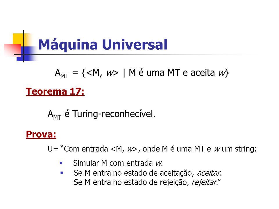 Máquina Universal AMT = {<M, w> | M é uma MT e aceita w}