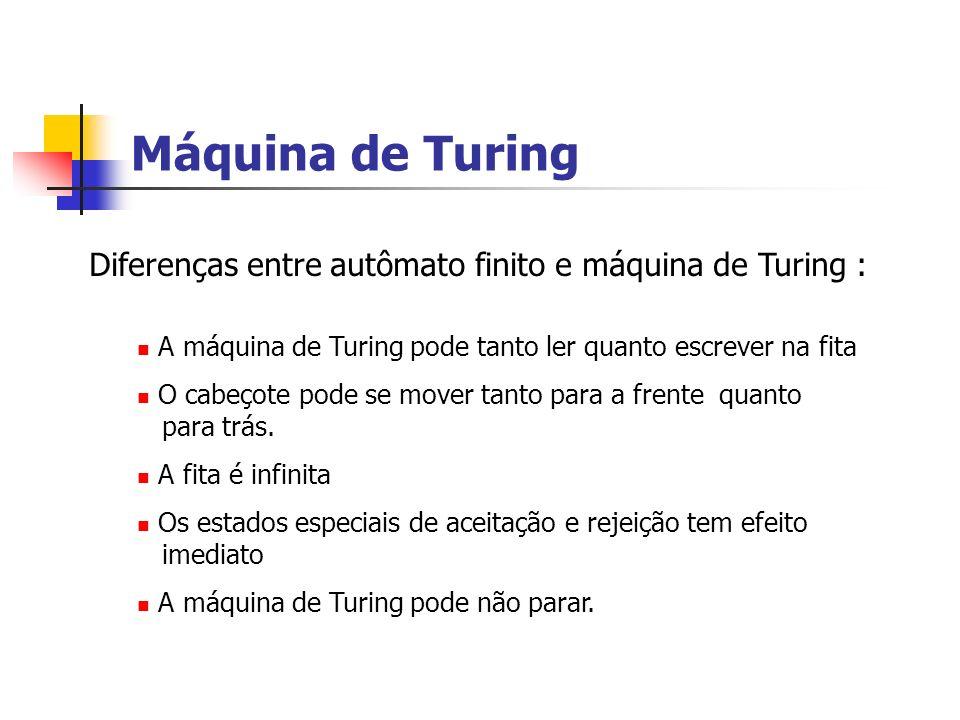 Máquina de Turing Diferenças entre autômato finito e máquina de Turing : A máquina de Turing pode tanto ler quanto escrever na fita.