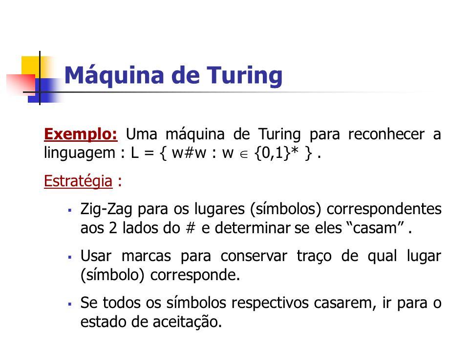 Máquina de Turing Exemplo: Uma máquina de Turing para reconhecer a linguagem : L = { w#w : w  {0,1}* } .
