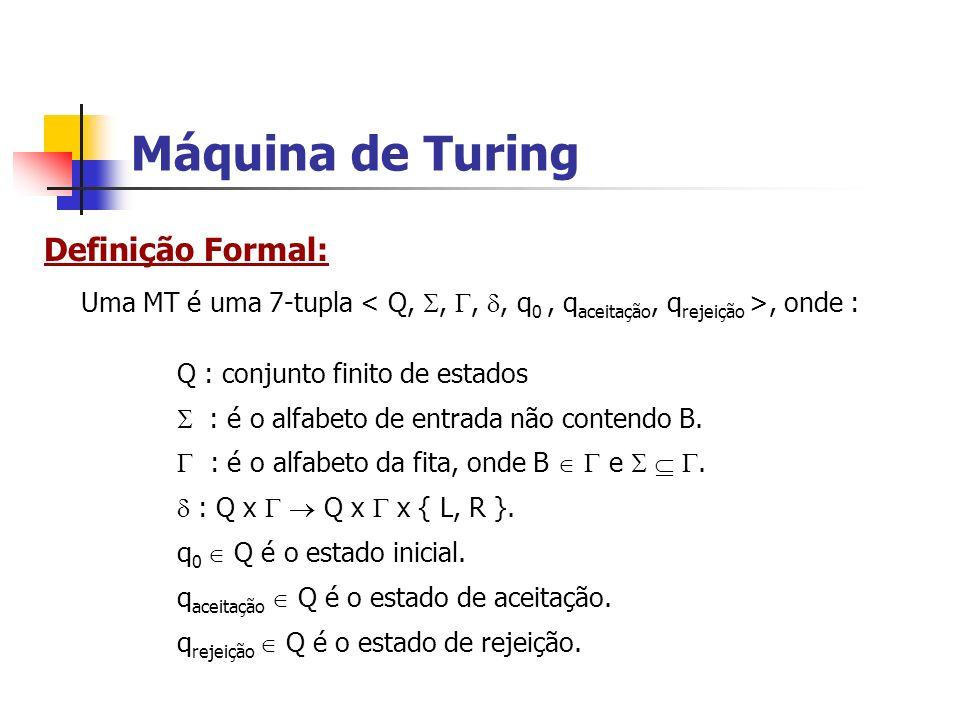 Máquina de Turing Definição Formal: